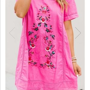 Pink Lily hot pink embroidered dress sz L